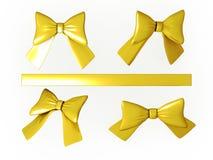 Σύνολο χρυσών κορδελλών με το ψαλίδισμα της πορείας ελεύθερη απεικόνιση δικαιώματος
