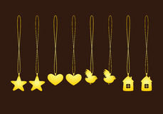 Σύνολο χρυσών κρεμαστών κοσμημάτων Στοκ Εικόνες
