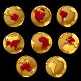 Σύνολο χρυσών σφαιρών με τις χαρακτηρισμένες χώρες ελεύθερη απεικόνιση δικαιώματος