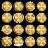 Σύνολο χρυσών σφραγίδων και διακριτικών πιστοποιητικών Στοκ Εικόνες