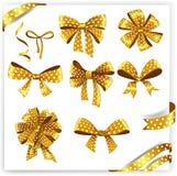 Σύνολο χρυσών τόξων δώρων σημείων Πόλκα με τις κορδέλλες διανυσματική απεικόνιση