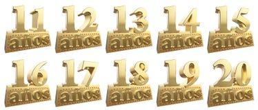 Σύνολο χρυσών ψηφίων σε ένα χρυσό πλίνθωμα για την επέτειο διανυσματική απεικόνιση