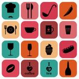 Σύνολο χρωματισμένης κουζίνας τροφίμων εικονιδίων επίπεδης Στοκ Εικόνα