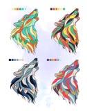 Σύνολο χρωματισμένος wolfs Στοκ εικόνες με δικαίωμα ελεύθερης χρήσης