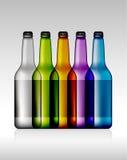 Σύνολο χρωματισμένου κενού μπουκαλιού μπύρας γυαλιού για το νέο σχέδιο Στοκ Φωτογραφία