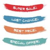 Σύνολο χρωματισμένου κτυπήματος μελανιού Πώληση, ειδική προσφορά, τελευταία ευκαιρία, καλύτερη τιμή διανυσματική απεικόνιση