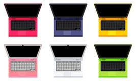 Σύνολο 6 χρωματισμένου σημειωματάριο πορτοκαλιού, πράσινος, κόκκινου, ροζ διανυσματική απεικόνιση