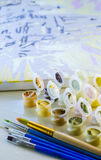 Σύνολο χρωματισμένων ακρυλικών χρωμάτων Στοκ φωτογραφία με δικαίωμα ελεύθερης χρήσης