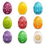 Σύνολο χρωματισμένων αυγών Πάσχας διανυσματική απεικόνιση