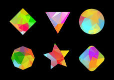 Σύνολο χρωματισμένων γεωμετρικών polygonal μορφών. Στοκ Εικόνα