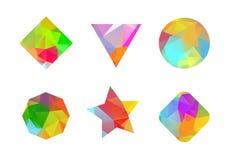 Σύνολο χρωματισμένων γεωμετρικών polygonal μορφών. απεικόνιση αποθεμάτων