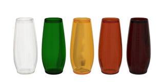 Σύνολο 5 χρωματισμένων γυαλιών με το ψαλίδισμα της πορείας στοκ φωτογραφίες με δικαίωμα ελεύθερης χρήσης