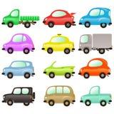 Σύνολο χρωματισμένων διανυσματικών αυτοκινήτων απεικόνιση αποθεμάτων