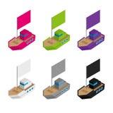 Σύνολο χρωματισμένων και γκρίζων isometric τρισδιάστατων σκαφών παιχνιδιών με τις σημαίες διανυσματική απεικόνιση