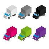 Σύνολο χρωματισμένων και γκρίζων isometric τρισδιάστατων φορτηγών φορτίου ελεύθερη απεικόνιση δικαιώματος