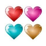 Σύνολο χρωματισμένων καρδιών σε ένα άσπρο υπόβαθρο Στοκ φωτογραφίες με δικαίωμα ελεύθερης χρήσης