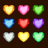 Σύνολο χρωματισμένων καρδιών Στοκ Φωτογραφίες