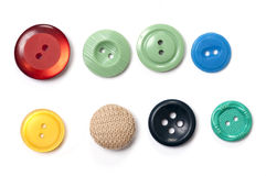 Σύνολο χρωματισμένων κουμπιών στο άσπρο υπόβαθρο Στοκ Εικόνα