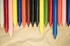 σύνολο χρωματισμένων κραγιονιών κεριών Στοκ Εικόνες