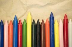 σύνολο χρωματισμένων κραγιονιών κεριών Στοκ Εικόνα