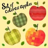 Σύνολο χρωματισμένων μήλων Στοκ φωτογραφίες με δικαίωμα ελεύθερης χρήσης