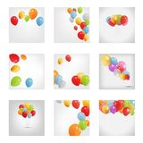 Σύνολο χρωματισμένων μπαλονιών, διανυσματική απεικόνιση Στοκ Φωτογραφίες