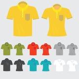 Σύνολο χρωματισμένων πρότυπα πουκάμισων πόλο για τον άνδρα και τις γυναίκες διανυσματική απεικόνιση