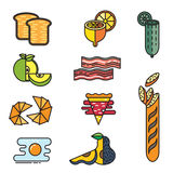 Σύνολο χρωματισμένων τροφίμων εικονιδίων Στοκ Φωτογραφία