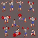 Σύνολο χρωματισμένων bodybuilders διανυσματική απεικόνιση