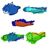 Σύνολο χρωματισμένων handdrawn ψαριών Στοκ φωτογραφίες με δικαίωμα ελεύθερης χρήσης