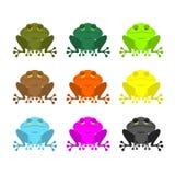 Σύνολο χρώματος βατράχων Χρωματισμένοι φρύνοι Ξύλινος πορτοκαλής βάτραχος Κίτρινος και BL Στοκ φωτογραφία με δικαίωμα ελεύθερης χρήσης