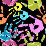 Σύνολο χρώματος χεριών στο μαύρο διάνυσμα υποβάθρου Στοκ Φωτογραφίες