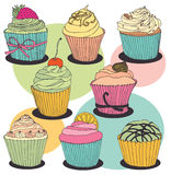 Σύνολο χρώματος Cupcake Στοκ Φωτογραφίες