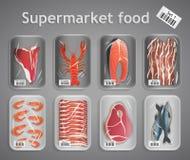 Σύνολο ψαριών και κρέατος υπεραγορών διανυσματική απεικόνιση