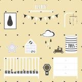 Σύνολο δωματίων βρεφικών σταθμών Χαριτωμένη ουσία δωματίων μωρών διανυσματική απεικόνιση