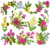 Σύνολο όμορφων διανυσματικών λουλουδιών διανυσματική απεικόνιση