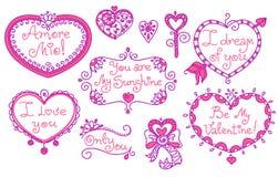 Σύνολο όμορφων καρδιών και τίτλων τέχνης γραμμών doodle σε δύο χρώματα στοκ εικόνες