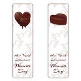Σύνολο δύο κάθετων εμβλημάτων με τις διακοσμήσεις και τις καρδιές σοκολάτας Για τις διεθνείς γυναίκες ` s ημέρα στις 8 Μαρτίου διανυσματική απεικόνιση