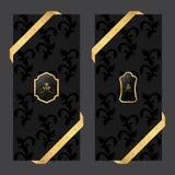 Σύνολο δύο κάθετων εμβλημάτων σε ένα σκοτεινό υπόβαθρο με το τετραγωνικό και ωοειδές λογότυπο κορδελλών και VIP ελεύθερη απεικόνιση δικαιώματος