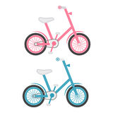 Σύνολο δύο ποδηλάτων παιδιών σε ένα άσπρο υπόβαθρο επίσης corel σύρετε το διάνυσμα απεικόνισης απεικόνιση αποθεμάτων