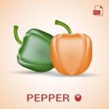 Σύνολο δύο φρέσκων γλυκών πιπεριών πράσινων και πορτοκαλιών Απεικόνιση αποθεμάτων