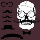 Σύνολο ύφους κρανίων Moustache hipster διανυσματική απεικόνιση