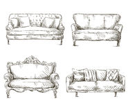Σύνολο ύφους σκίτσων σχεδίων καναπέδων, διανυσματική απεικόνιση Στοκ Φωτογραφία