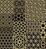 Σύνολο δώδεκα χρυσά άνευ ραφής σχέδια στο μαροκινό ύφος Στοκ Φωτογραφία