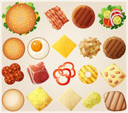 Σύνολο Burgers Τοπ όψη Τα κουλούρια συστατικών, τυρί, μπέϊκον, ντομάτα, κρεμμύδι, μαρούλι, αγγούρια, κρεμμύδια τουρσιών, ενισχύου απεικόνιση αποθεμάτων