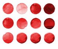 Σύνολο burgundy, καφετής χρωματισμένος χέρι κύκλος watercolor χρώματος στο λευκό Απεικόνιση για το καλλιτεχνικό σχέδιο Στρογγυλοί Στοκ εικόνες με δικαίωμα ελεύθερης χρήσης