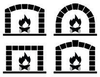Σύνολο Clipart φούρνων με το κάψιμο της πυρκαγιάς απεικόνιση αποθεμάτων
