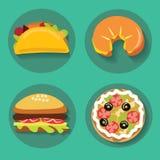 Σύνολο croissant burger πιτσών γρήγορου φαγητού εικονιδίων Στοκ φωτογραφία με δικαίωμα ελεύθερης χρήσης
