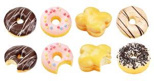Σύνολο donuts που απομονώνονται Στοκ φωτογραφία με δικαίωμα ελεύθερης χρήσης