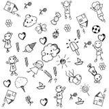 Σύνολο Doodle αντικειμένων ένας αστείος Στοκ Εικόνες